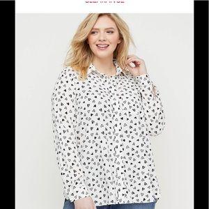 Lane Bryant heart pattern blouse